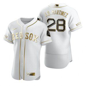Sox #28 J.D. Martinez White Golden Jersey